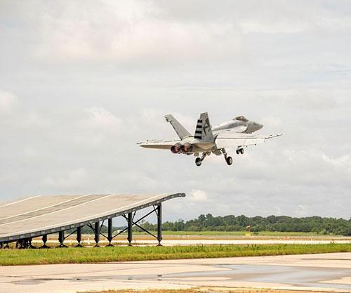 Boeing Super Hornet Demonstrates Ski-Jump Launch Capability