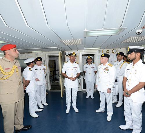 Pakistan Chief of Naval Staff Tours Omani Vessel in Karachi Drill