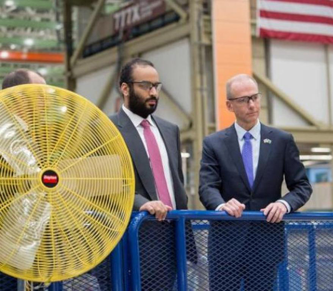Saudi Crown Prince Tours Boeing's Aircraft Facilities