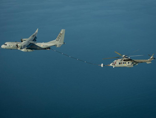 Airbus C295W Demos Refueling Contacts with Helicopter