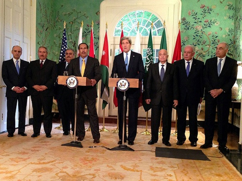 Kerry-Arab Delegation Discuss Middle East Peace Process