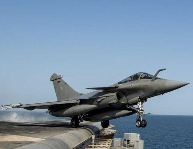 French Rafale omnirole fighter jet operates from U.S. aircraft carrier in the Arabian Gulf