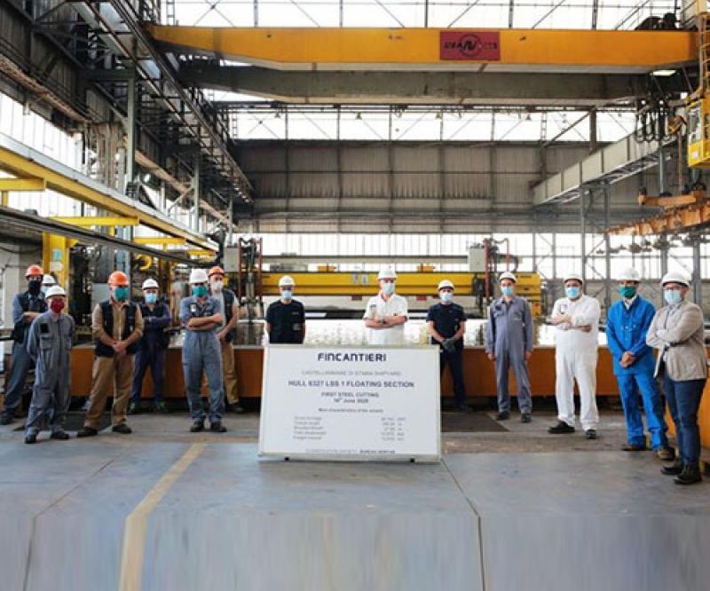 Fincantieri: Steel Cutting of Forward Section for Chantiers de l'Atlantique