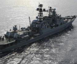 Russian Navy Destroyer Holds Military Drills in Mediterranean Sea