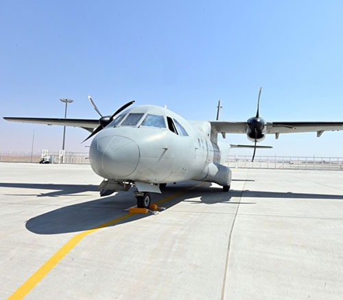 CN235 parked at the MRO Al Ain facility for induction