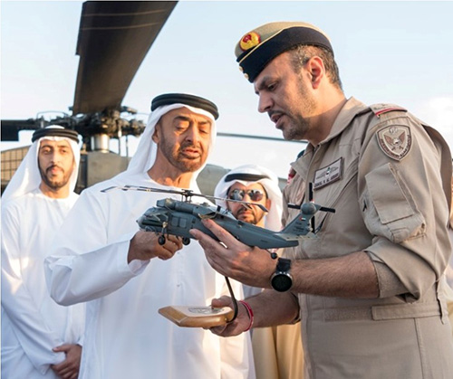 Abu Dhabi Crown Prince Inspects New Weapon Suite on UAE Black Hawks