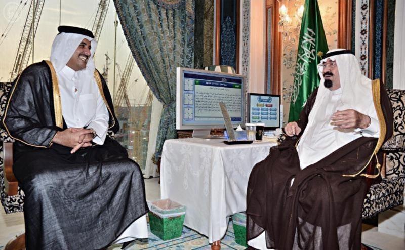 Saudi King Receives New Qatar's Emir