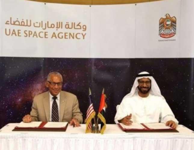 NASA administrator Charles Bolden and UAE Space Agency chairman Dr. Khalifa Al Romaithi