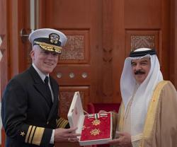 Bahrain's King Receives Departing US NAVCENT, 5th Fleet Commander